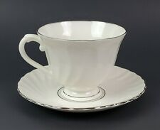 Syracuse Silhouette Wedding Ring Tea Cup and Saucer Set White w/Platinum Trim