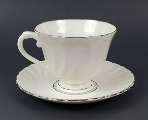 Syracuse Silhouette Wedding Ring Tea Cup and Saucer Set White w/Platinum Trim