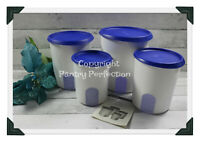 Brand New TUPPERWARE 4 Pc Canisters One Touch Reminder Canister Set Blue Seals