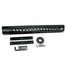 "15"" inch KEYMOD Free Float Quad Rail Slim Handguard w/Front End Cap & Rails"