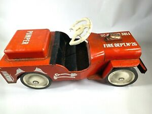 "1960s STRUCTO FIRE DEPARTMENT NO.26 vintage pressed steel RIDE ON PUMPER CAR 26"""