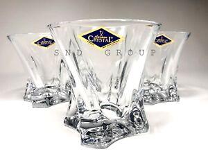 Crystal Glass Set of 6 Whiskey Rocks Glasses Cognac Vodka 10oz / 320ml Bohemian