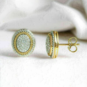 2.26 CT D DIAMOND ENGAGEMENT & WEDDING OVAL STUD EARRINGS 14K YELLOW GOLD FILLED