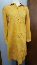 Vtg 60s 70s Psychedelic Dress Bright Bold Floral Paisley Print Mod Deco sz 10