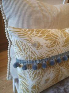 "16x12"" Peacock Feather Ochre mustard light grey velvet  pom pom  cushion cover"