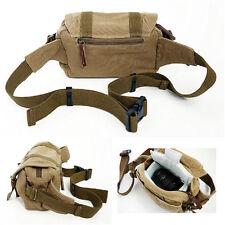 Men's Vintage Canvas Waist Pack SLR Camera Bag Padding Case For Nikon SLR