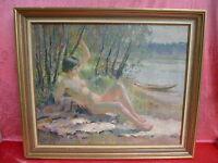 Emebellecedor, Antiguo Pintura __ Femenino Desnudo la Mayor Parte See __ Louis