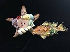 Fitz & Floyd 1996 La Mer Salt & Pepper Set Fish Starfish Shell Hard To Find!