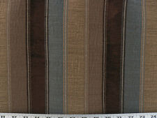 Drapery Fabric Woven Striped Chenille in Gray-Blue, Taupe, Gold/Tan, Chocolate