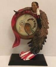 Resin Native American Indian Brave w/ USA Flag Coat Holding Glass Dream Catcher