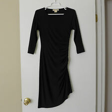 Michael Kors Black Asymmetric Hem Fitted Dress Ruched Side Silver Zipper Size 2