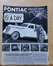 1937 magazine ad for Pontiac, Most Beautiful thing on wheels, saves money on gas