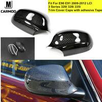 Carbon Fiber Side Mirror Caps Fit For BMW E90 E91 3 Series LCI 335i 330i 2009-12