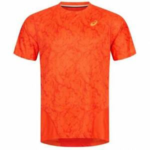 Asics Men's Training Top Zero Distract Short Sleeve T-Shirt - Orange - New