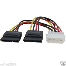 New Molex to SATA Power Y Splitter Adaptor Cable Lead 2 Way 4 Pin To 2 x15 Pin