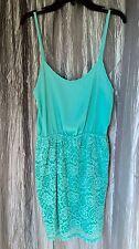 Finn & Clover Womens Sleeveless Seafoam Green Dress w/Lace Bottom NEW Size L