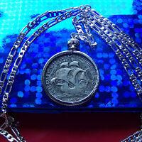 """SILVER ESCUDOS Portuguese SHIP Coin on a 20"""" 925 Sterling Silver Chain"""