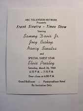 ELVIS PRESLEY ABC TELEVISION TIMEX SHOW INVITATION FRANK SINATRA MARCH 26, 1960