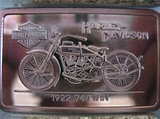 1.4.OZ .999 PURE SILVER PROOF ART BAR 1922 74 TWIN HARLEY DAVIDSON COA + GOLD
