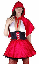 Little Red Riding Hood Sexy Fancy Dress Costume + Hooded Cape - M / 8-10-12