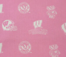 UNIVERSITY OF WISCONSIN  BADGERS PINK 100% COTTON FABRIC BY THE  1/2 YARD