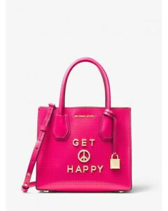 michael kors small mercer tote bag in bright pink with stones