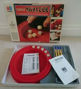 Vintage 1981 Triple Yahtzee Board Game MB Games Age 8 - Adult 2+ Player