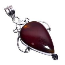 Sterling Silver Overlay Handmade Mookaite Pendant NLG-463 Rhodium Plated Chain