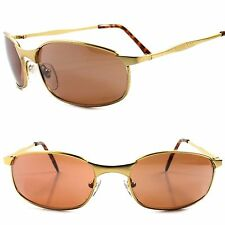 Stylish Driving Brown Amber Lens Gold Wrap Around Sporty Rectangle Sunglasses