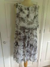 NEW MINT VELVET beautiful grey & white muted print layered dress UK 14