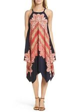 New Maggy London Hankey Hem Shift Dress Paisley Print Navy/Pomegranate Size 12