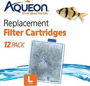 12 PACK Aqueon Filter Cartridge Large. Quiet Flow 20 30 50 55 75 Aquarium Fish