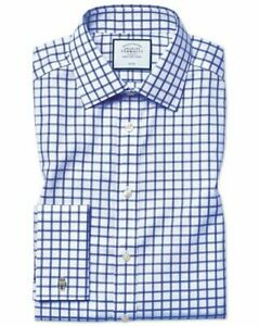 "Charles Tyrwhitt Slim Fit Twill Grid Check Royal Blue 16"" TD191 EE 12"
