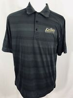NIKE Mens Short Sleeve Polo Shirt LARGE Black Horizontal Stripe EASTBAY PATCH