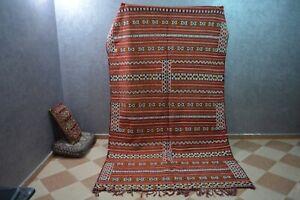 "Moroccan Handmade Kilim Wool Carpet-Tribal Berber Hannbal Area Rug 9'1"" x 5'5"""