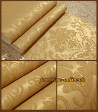 3D VICTORIAN DAMASK FLORAL DESIGN WALL PAPER GLITTER GOLD WALL COVER ROLL DECOR