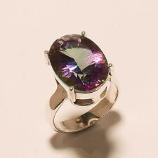 7.50 Gm Flashing Mystic Topaz Ring 925 Solid Sterling Silver Ring Size 8 i-825