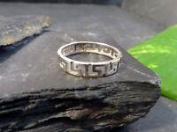 Zierlicher 925 Sterling Silber Ring Mäander Muster Durchbruch Unisex Fein Chic
