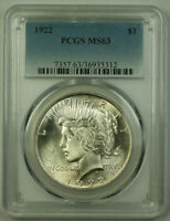 1922 Peace Silver Dollar $1 Coin PCGS MS-63 Better Coin (21) L