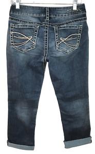 Silver Suki Capri Womens Size 27 x 26L Designer Stretch Distressed Denim Jeans