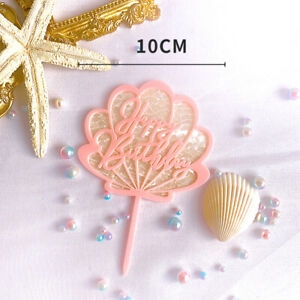 1/4Pcs Acrylic Shell Shape Happy Birthday Cake Toppers Baby Shower Party Decors