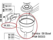 Santos 58 Commercial Juice - Juice Bowl PN#58303 or Miracle MJ858 PN# 58-303