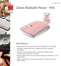 TRUST ZANOO PEARLY PINK BLUETOOTH 3 BUTTON SCROLL WHEEL MOUSE NEW SEALED VAT UK