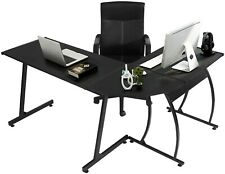 GreenForest L-Shaped Corner Desk, 3-Piece, Black,Game/Home/Writing/Office