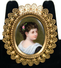 Painted Woman portrait Antique Brooch w/Hand