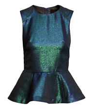 H&M PEPLUM SHINY PARTY TOP SIZE UK10