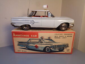 ICHIKO JAPAN VINTAGE TINPLATE 1960 CHEVROLET IMPALA AMBULANCE CAR VERY RARE NMIB