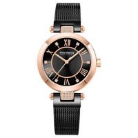 Men's Classic Quartz Analog Watch Stainless Steel Mesh Band Black&Rose gold Dial