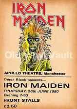 Iron Maiden concert poster Apollo Theatre,Manchester 1980   A3 Repro