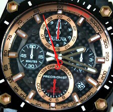 Bulova Precisionist BRAND NEW Champlain 98B181  Carbon Fiber Gold, Box, Case Tag